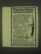 1974 Puma Warden #16-971 Knife Ad - Work-Horse - $14.99