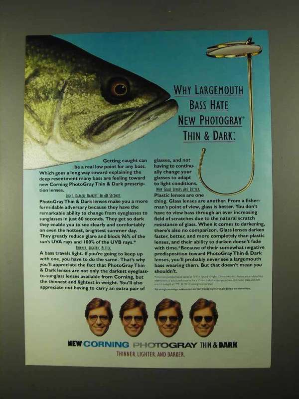 Primary image for 1994 Corning PhotoGray Thin & Dark Lenses Ad