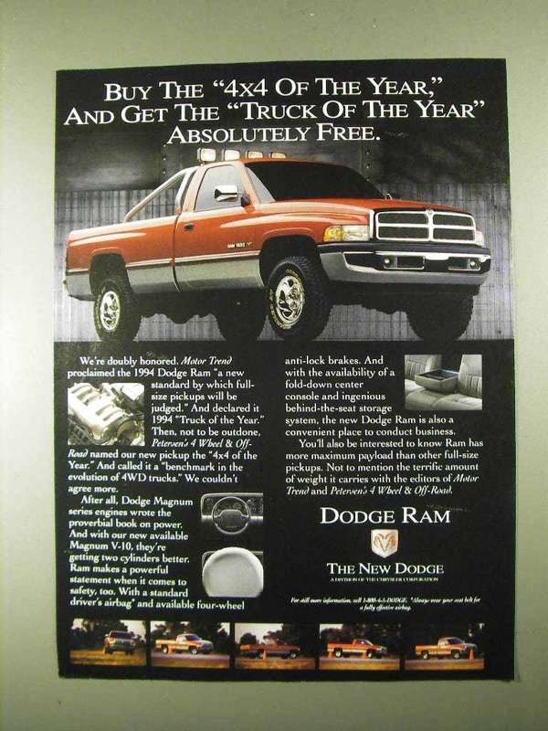 Primary image for 1994 Dodge Ram 1500 Pickup Truck Ad - Absolutely Free