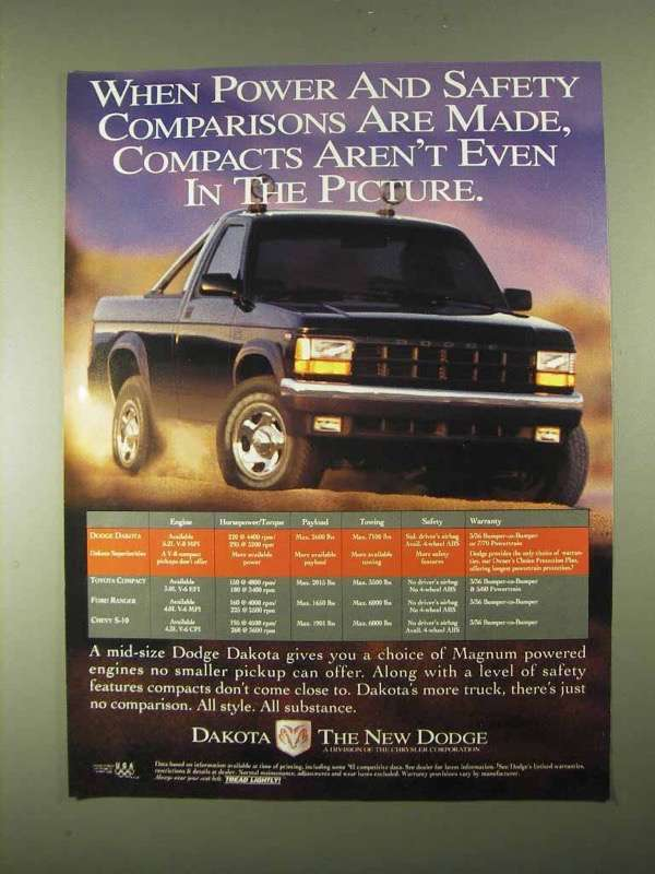Primary image for 1994 Dodge Dakota Pickup Truck Ad - Power and Safety