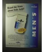 1995 One-A-Day Men's Vatimins Ad - Folic Acid - $14.99