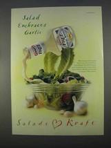 1996 Kraft Free Garlic Ranch Dressing Ad - Embraces - $14.99