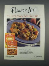 1996 McCormick / Schilling Seasoning Ad - Flavor Up! - $14.99