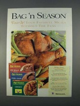 1996 McCormick Bag 'n Season Ad - Flavor Up! - $14.99