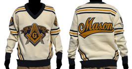 Freemason Mason Long Sleeve Sweater Blue Gold V neck Masonic Fraternity ... - $128.24