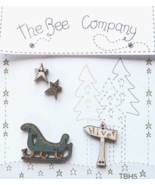 Sleigh Sign Stars Winter Collection (4pcs) wooden buttons The Bee Company  - $5.00