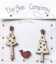 Trees Birdie Stars Christmas Collection (5pcs) wooden buttons The Bee Co... - $5.00