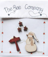Snowman Sign Stars Christmas Collection (5pcs) wooden buttons The Bee Co... - $5.00