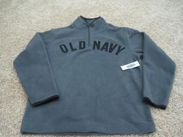 BNWT Old Navy boys fleece sweat shirt with logo, grey/black, size M(8), 1/4 zip, - $9.50