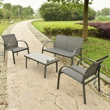 4 Pc Patio Furniture Outdoor Lawn Yard Sofa Chairs Coffee Table Garden Set Seat image 5