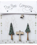 Trees Sign Star Winter Collection (4pcs) wooden buttons The Bee Company  - $5.00