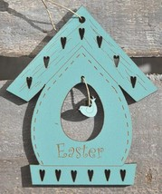 Vintage Blue Easter Birdhouse 1pc cross stitch wooden ornament The Bee Company - $6.00