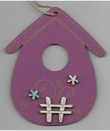 Vintage Purple Wooden Birdhouse with fence 1pc wooden ornament The Bee C... - $6.00