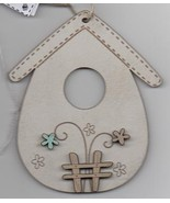 Vintage Cream Wooden Birdhouse with fence 1pc wooden ornament The Bee Co... - $6.00