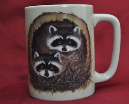 Otagiri Japan Raccoons Tree Hollow 8 Ounce Coffee cup mug - $6.25