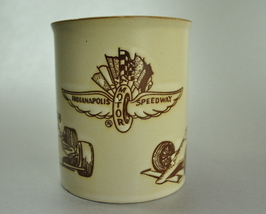 Indianapolis Motor Speedway tan Coffee Cup Mug Brown logo - $6.25
