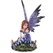 Purple Spring Garden Fairy Meadow Mushroom Home Decor Statue Butterfly - $26.00