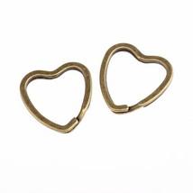 "25 KEY RINGS ~ Heart Shape 32mm (1-1/4"") Sturdy Split Ring Style ~ Antiq... - $8.01"