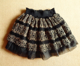 Romantic Gothic Princess Skirt. Black Mesh Gold Lace Full Skirt. Mini Skirt - $70.90