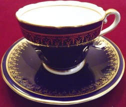 Vtg AYNSLEY Bone China Cup+Saucer~Cobalt Blue with Gold Trim~Elegant+Lov... - $64.34