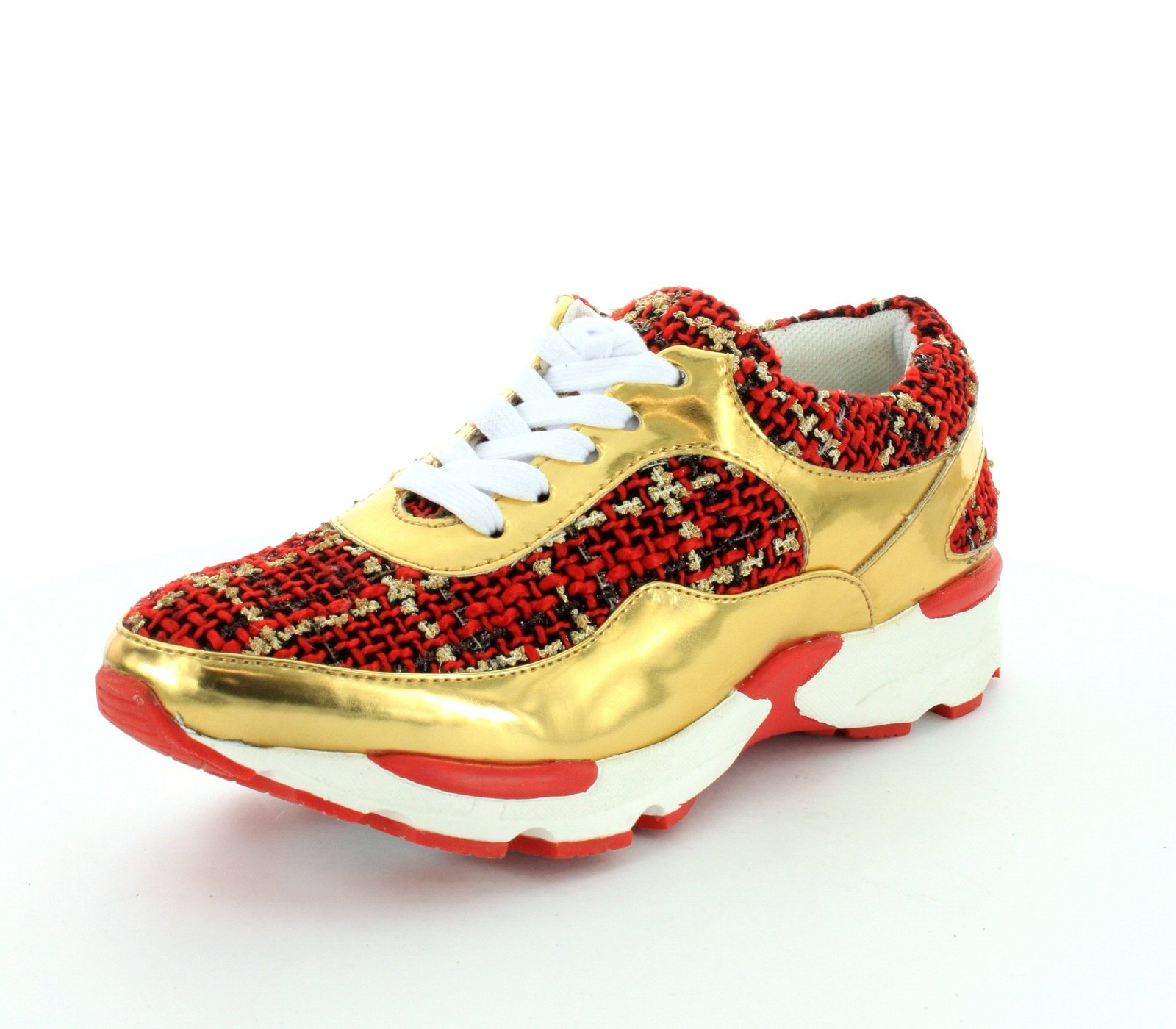 Jeffrey Campbell Womens Run Walk Gold Red Sneaker - 6.5 M