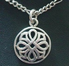 Weave Silver Pendant Celtic Charm Good Luck Jewelry - $19.15