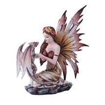 Autumn Princess Fairy With Leopard Brown Dragon Statue Flower Season Fig... - $38.00