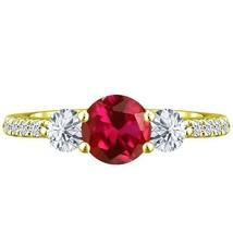 2.05 tcw Round cr Ruby & Diamond 3 Stone Lucida Ring 14k Yellow Gold pl ... - £185.10 GBP