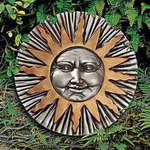 """12"""" Silver and Gold Astral Adornment Home or Garden Summer Sun Wall Scul... - $52.42"""