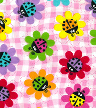 Colorful Ladybugs and Daisies on Cotton Flannel... - $6.49