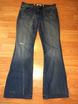JUICY COUTURE STRETCH DISTRESSED DENIM FLARE JEANS SIZE 27 - $21.28