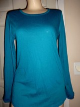 GILLIGAN & OMALLEY TEAL KNIT LONG SLEEVE TOP SIZE JR M - $12.59