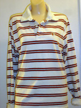 AMERICAN EAGLE COTTON WHITE/ORANGE LONG SLEEVE TOP JR M - $14.50