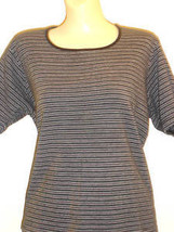 JENNIFER MOORE COTTON BLK/GRAY/WHITE STRIPE TOP SIZE L - $9.74