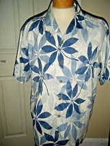 TOMMY BAHAMA MENS SILK DK BLUE/WHITE PRINT SHIRT SIZE XL/XT - $38.69