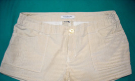 Abercrombie & Fitch BEIGE/WHITE Stripe Seersucker Short Shorts Size 34 - $15.47