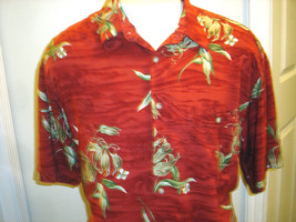 CAMPIA MENS CRANBERRY HAWAIIAN TROPICAL PRINT SHIRT SIZE L - $17.41