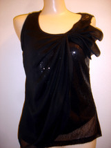 FOREVER FASHION BLACK SEQUIN SLEEVELESS TOP SIZE PM - $17.41