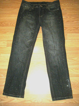 White HOUSE/BLACK Market Noir Stretch Embellished Denim Crop J EAN S Size 4 - $29.02