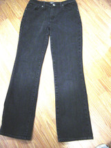 CHIC0'S PLATINUM STRETCH FADED BLACK DENIM BOOTCUT JEANS SIZE CHICO'S 0.5 - $16.44