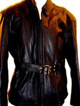 VINTAGE BLACK GENUINE LEATHER BIKER JACKET W/BELT SIZE XXXL - $144.94