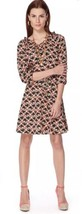 The Webster Miami Target Navy Blue Coral 3/4 Sleeve Art Deco Print Dress... - $15.64