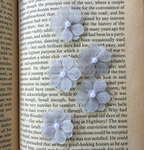 20 Silver Cherry Blossoms,Grey Applique,Beaded Flowers,Craft Supplies,Se... - $7.50