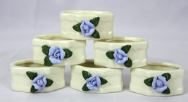 Set of 6 Genuine Porcelain Napkin Rings Blue Roses Leaves Floral Shabby ... - $22.55