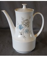Vintage Schirnding Bavaria China Tea Coffee Pot with Lid Blue Grey Flowers - $30.08