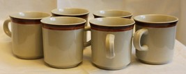 Set of 6 Retro Midcentury Haniwa Stone Ware Aztec Coffee Mugs Vintage Diner - $22.55