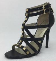 Guess ALLY Gold Studded Strappy Stiletto Heels Black Faux Leather Size 7 - $14.67