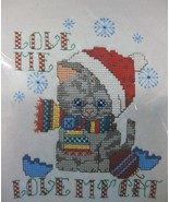 Love Me Love My Cat Counted Cross Stitch Kit Wearable Candamar Holiday T... - $17.95