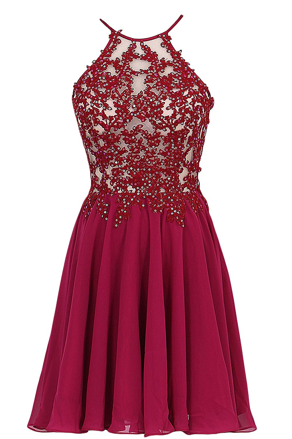 Primary image for Spaghetti Straps Chiffon Prom Dress Short Applique with Beading Homecoming Dress