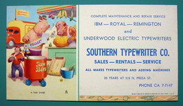 INK BLOTTER 1950s - PIG Monkeys Taxes AD for Southern Typewriter Co Texas - $4.49